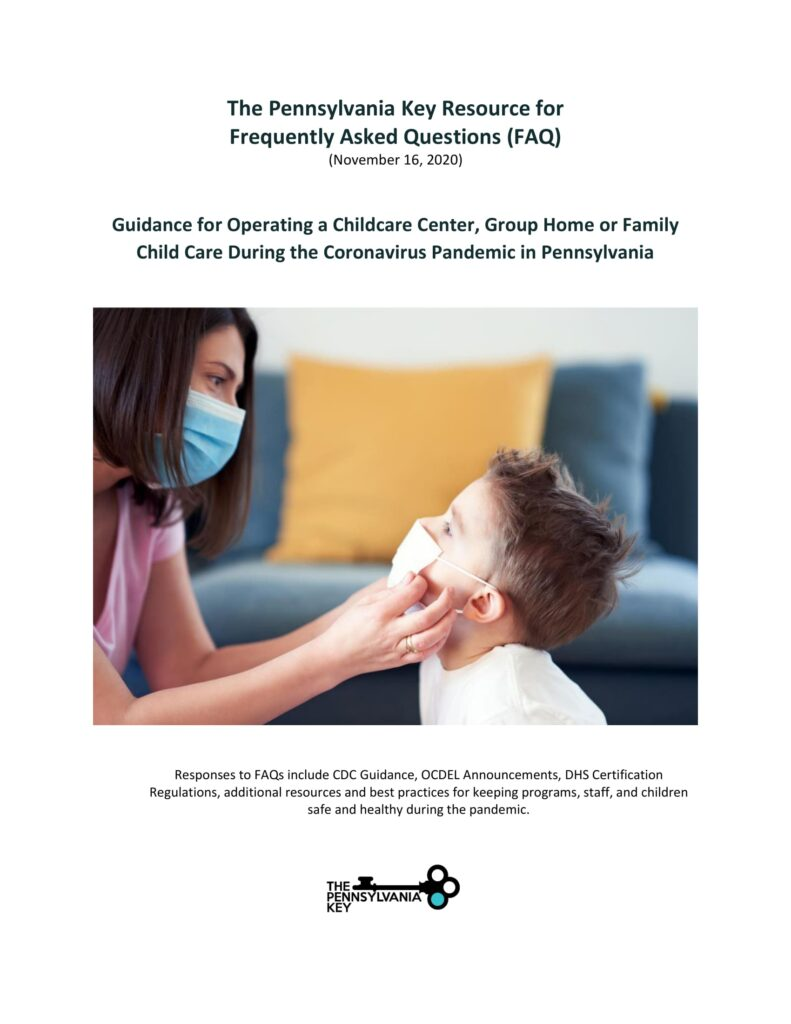 Cover of PA Key COVID-19 FAQs Guidance for Providers